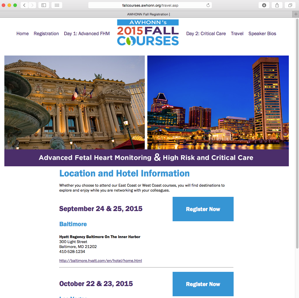 AWHONN Fall Courses Travel Page